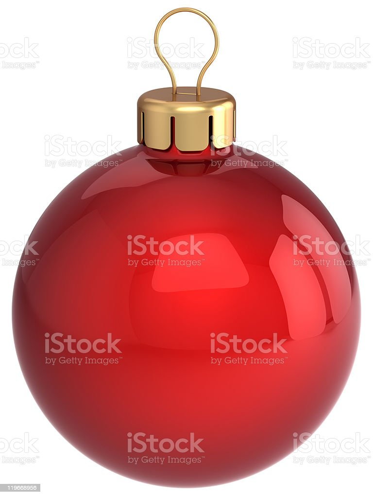 Christmas ball classic New Year bauble red decoration stock photo