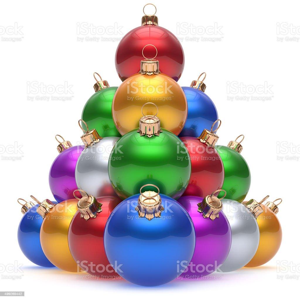 d90e4658e6d Bola de Navidad hermosa pirámide de la víspera de Año Nuevo grupo baubles  foto de stock