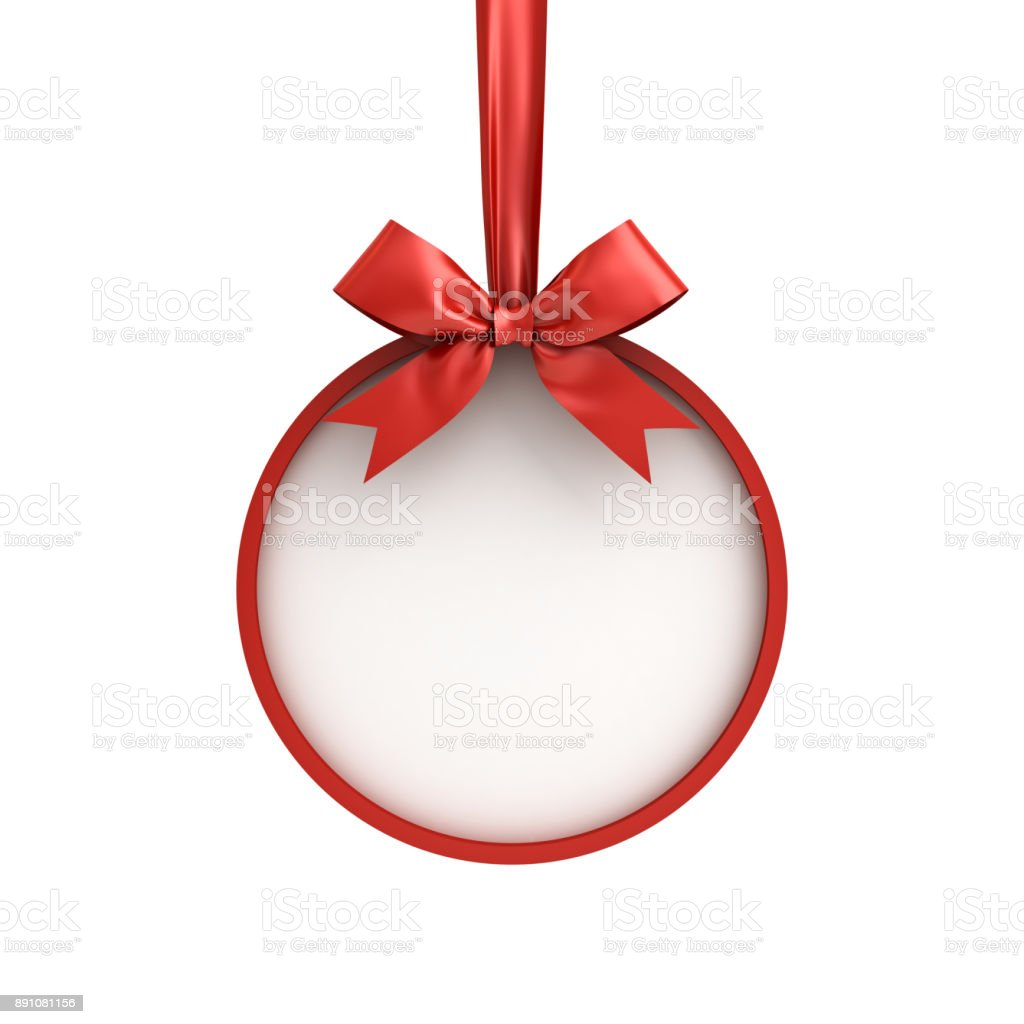 Christmas ball frame hanging with red ribbon and bow isolated on white background for christmas decoration stock photo
