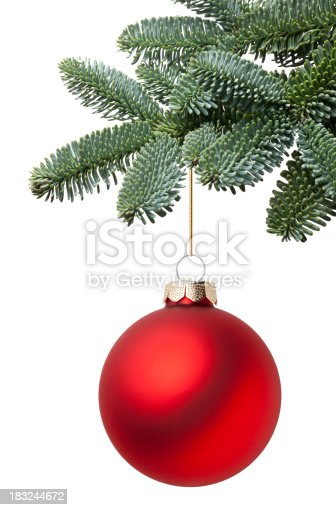 Christmas ball hanging on a fir tree branch. Photography in high resolution. Similar pictures from my portfolio: