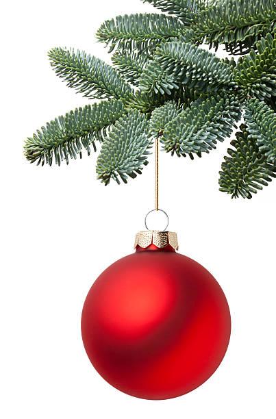Bola de Natal, pendurado em um galho de árvore-de-Natal - foto de acervo