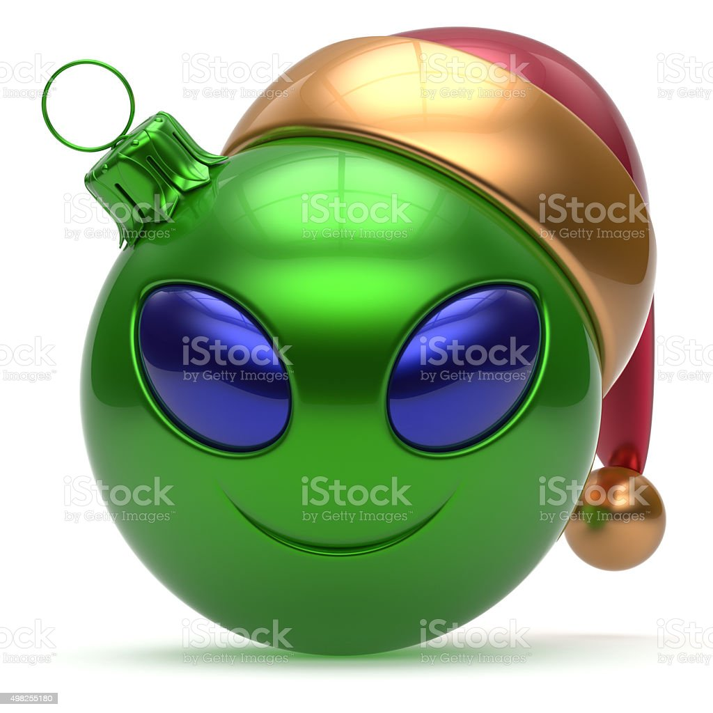 Christmas ball Happy New Year bauble smiley alien face green stock photo