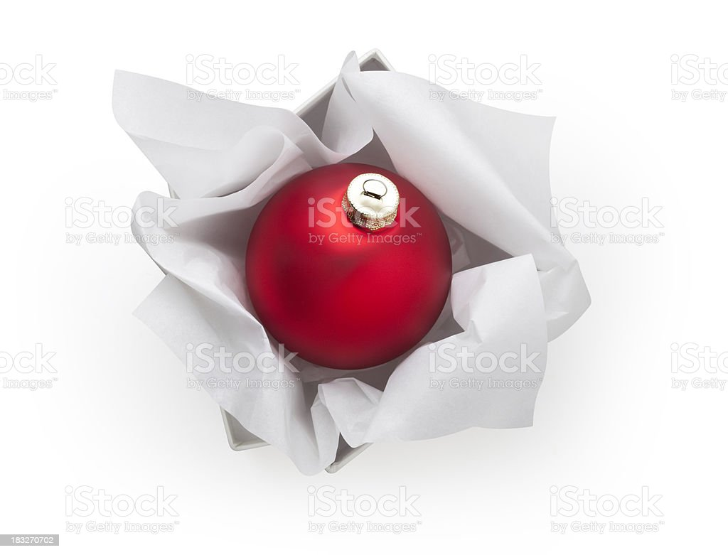 Christmas ball in his box royalty-free stock photo