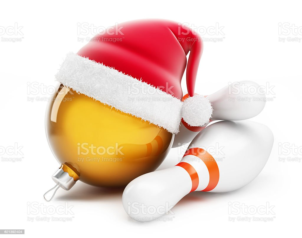 Christmas ball in santa hat Bowling santa hat stock photo