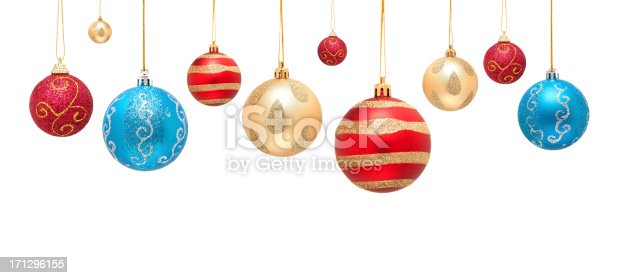 Christmas ball decoration isolated on white background.