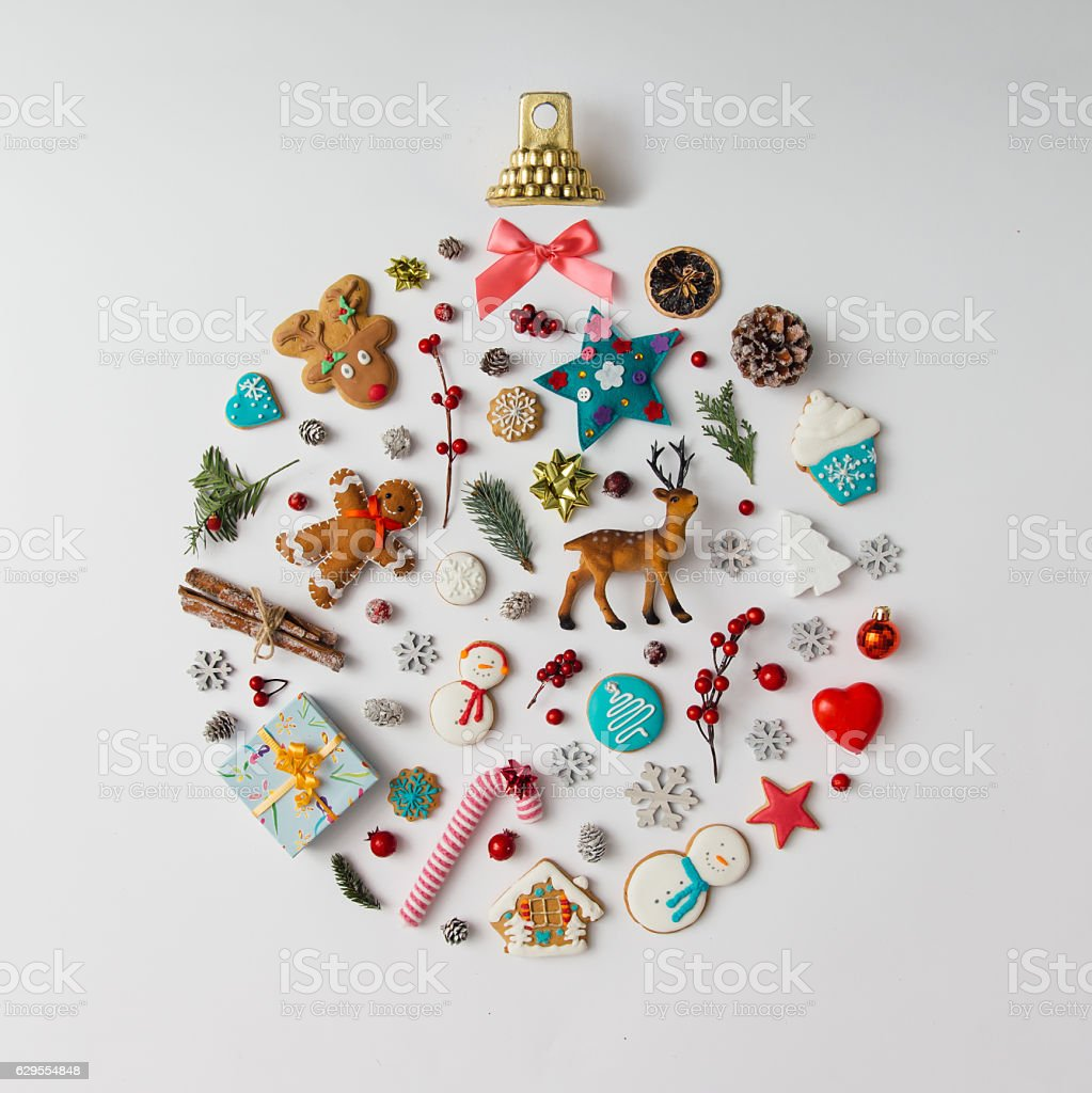Christmas ball made of decoration elements. Flat lay. stock photo
