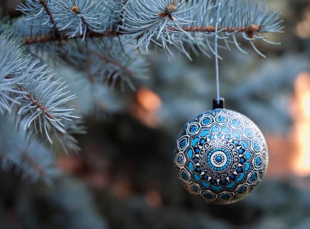 Christmas ball on branch tree stock photo