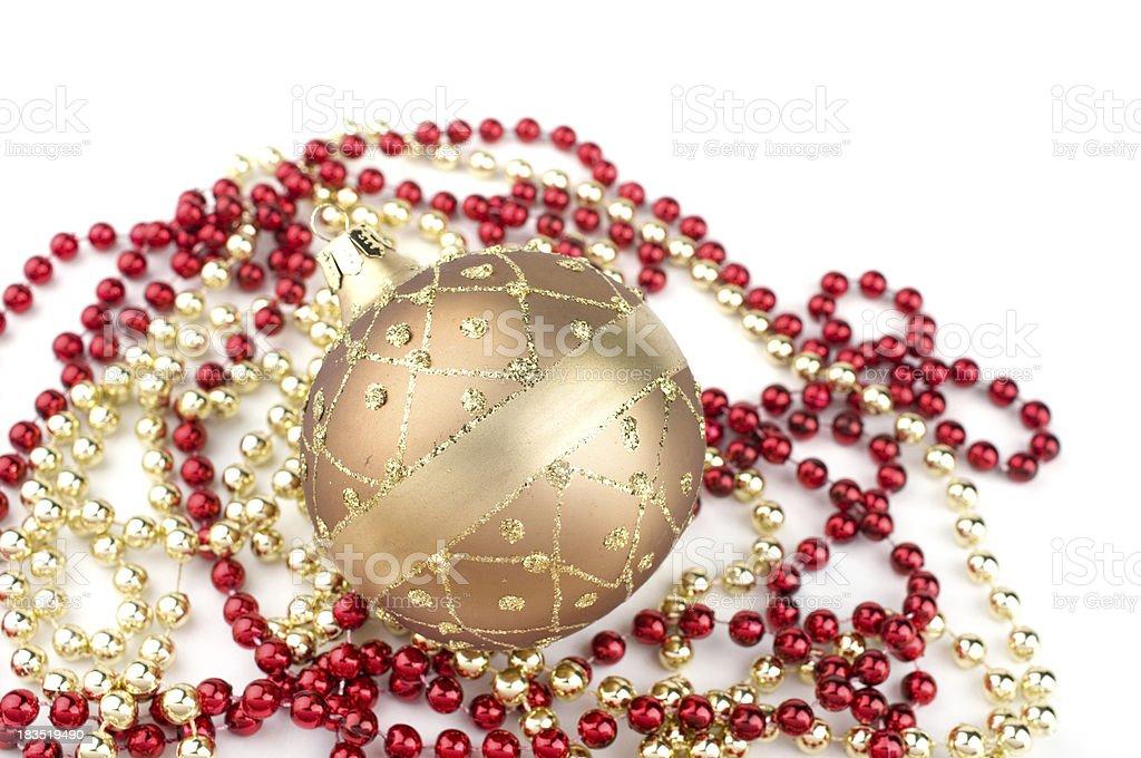 Christmas ball on pearls stock photo