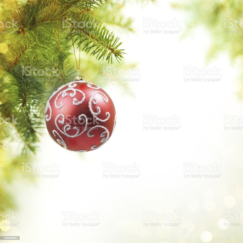 Christmas Ball on the Tree with Blurred Lights. stock photo