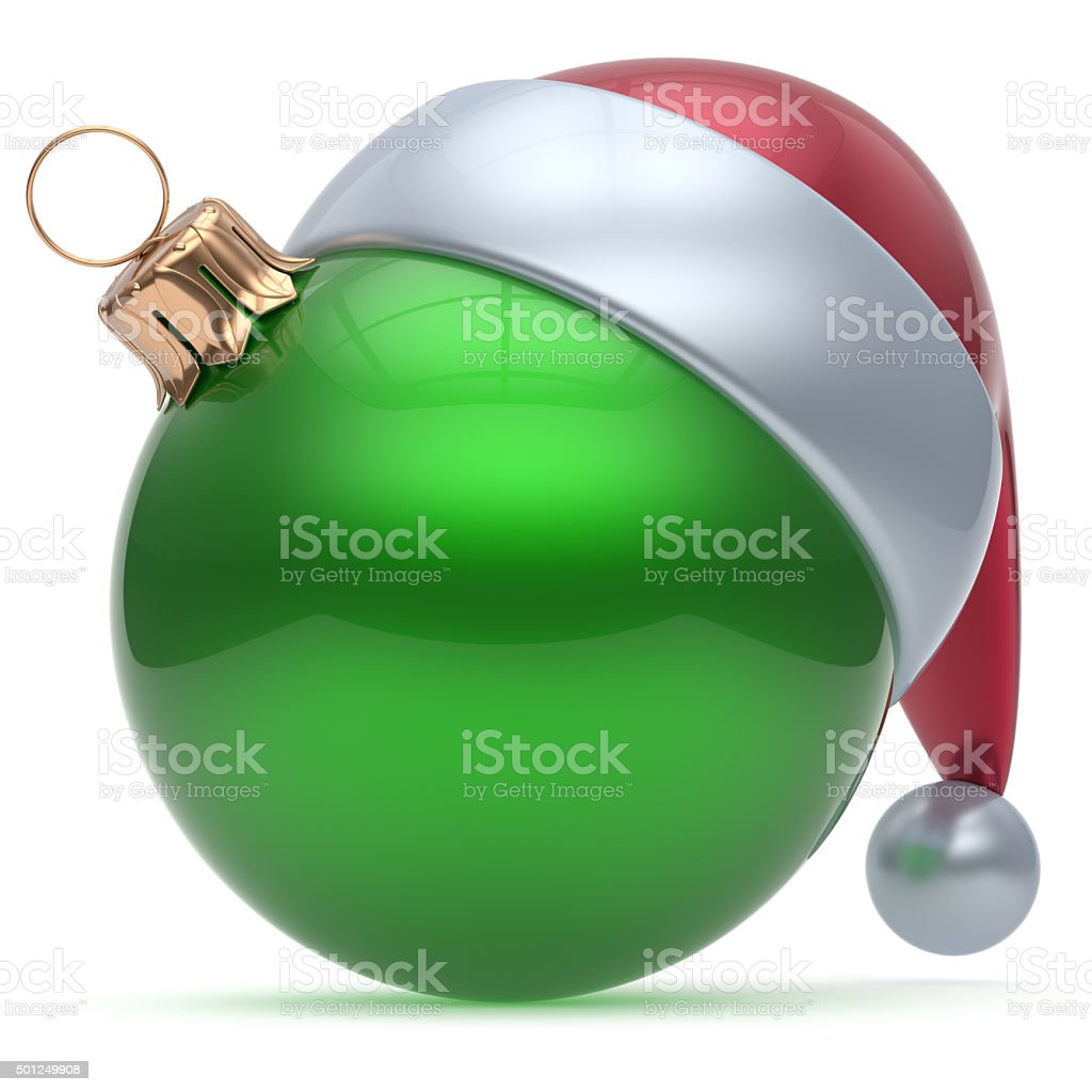 Christmas ball ornament green New Year's Eve adornment stock photo