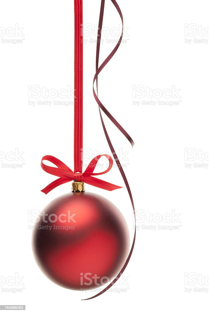 Christmas Ball & Red Ribbon royalty-free stock photo