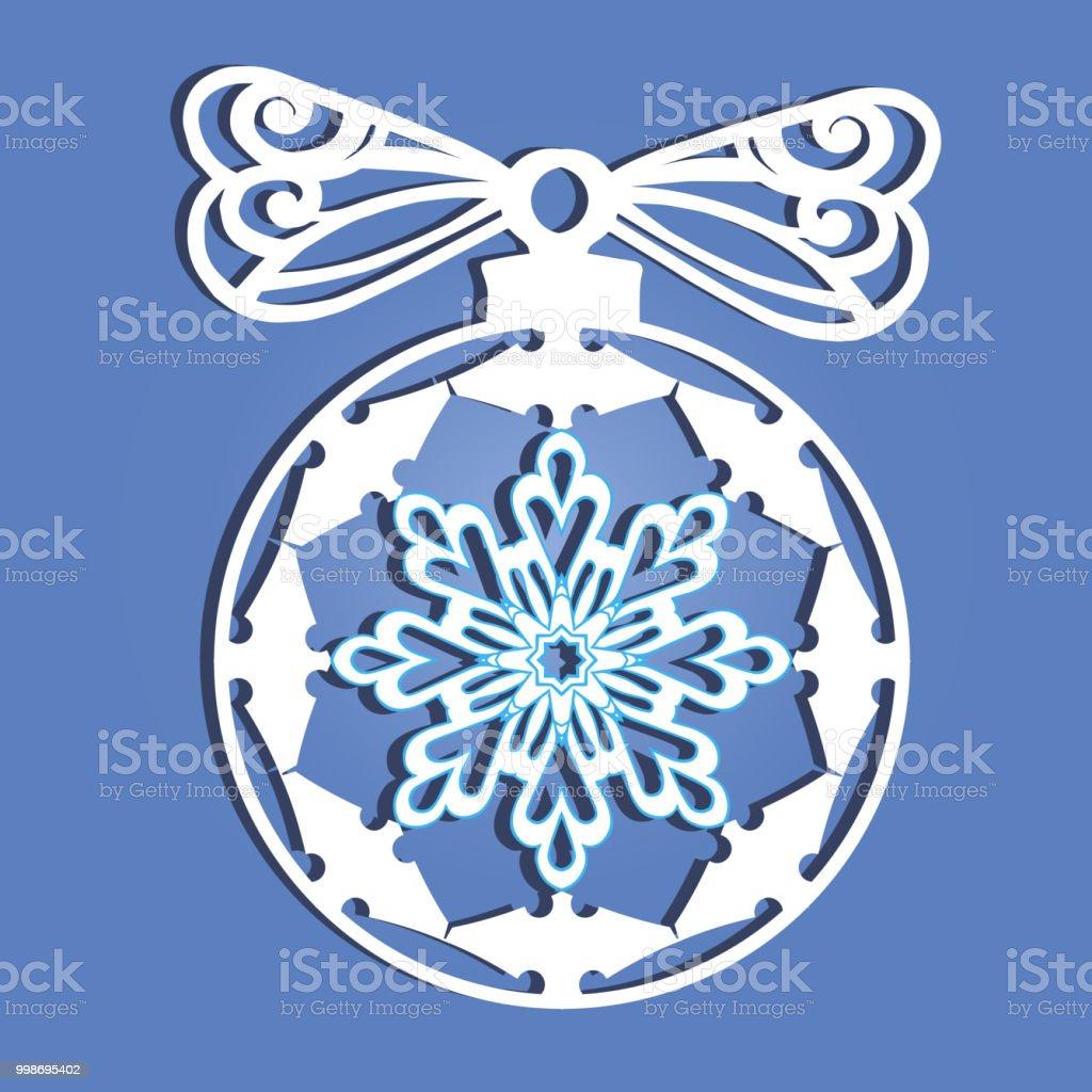 Weihnachtskugel Mit Einer Schneeflocke Aus Papier Ausgeschnitten