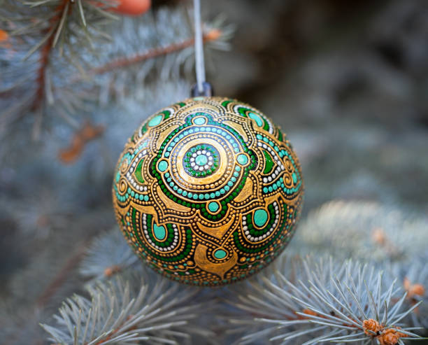 Christmas ball with indian ornament stock photo