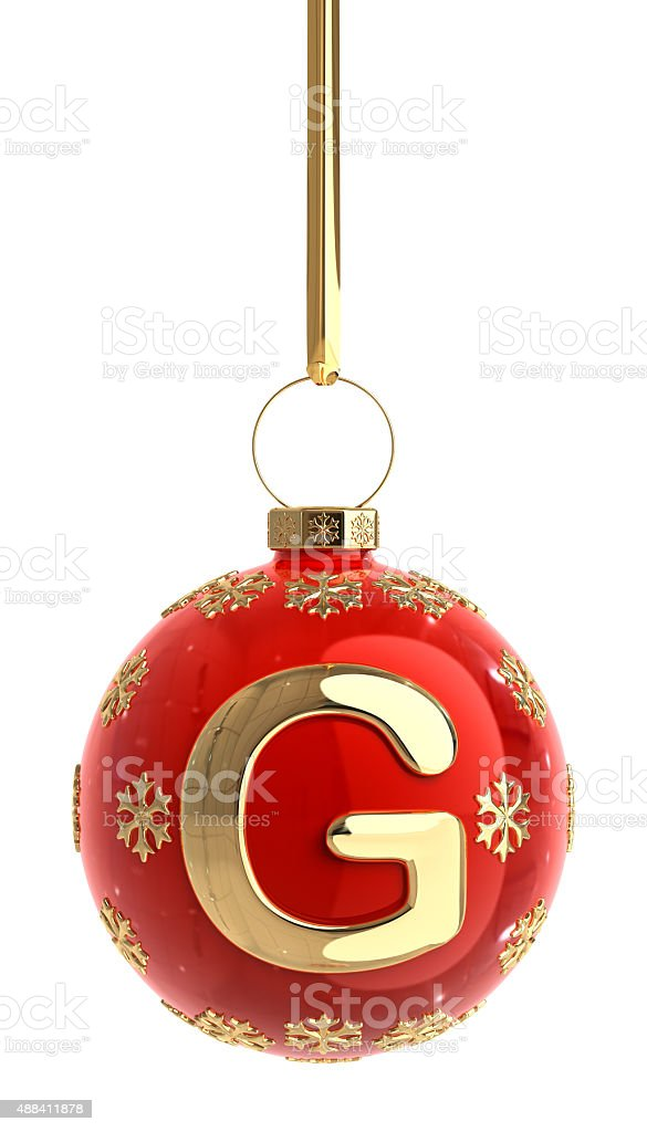 Christmas Ball With Letter G stock photo
