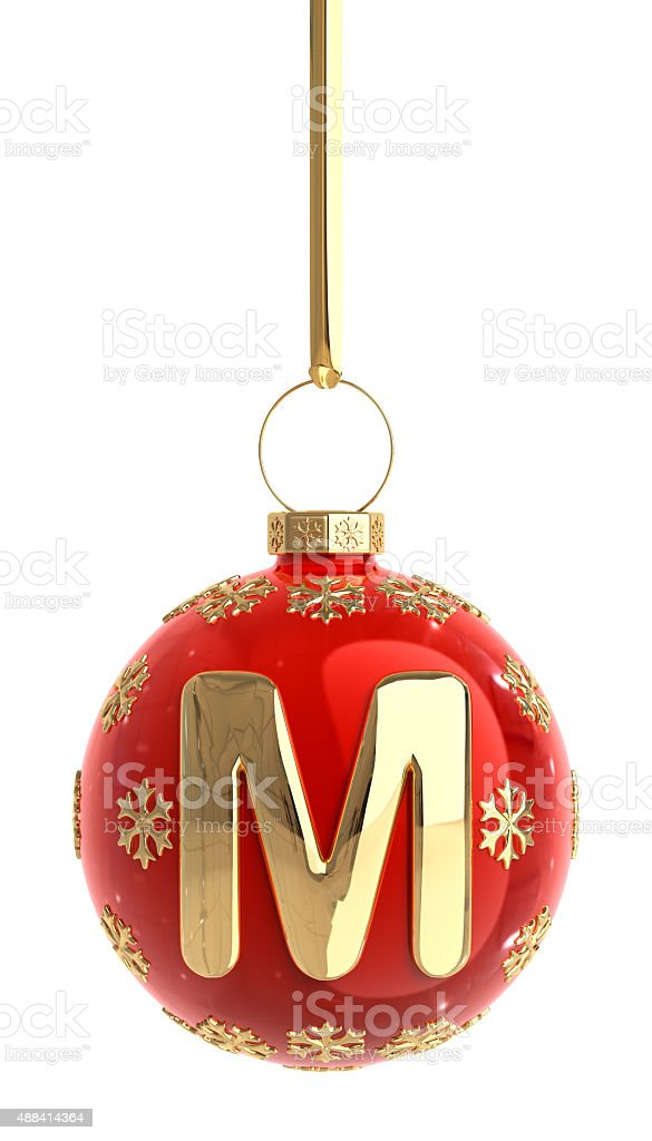 Christmas Ball With Letter M stock photo