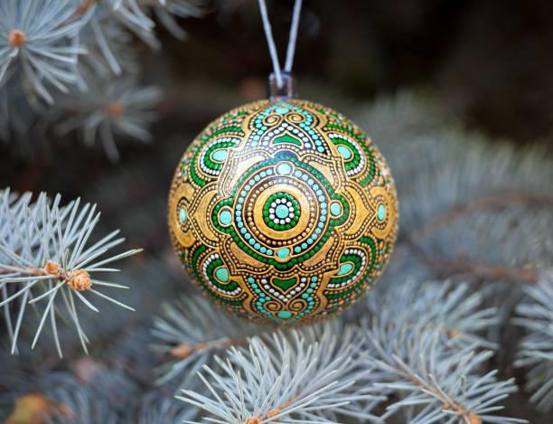 Christmas ball with pine tree stock photo