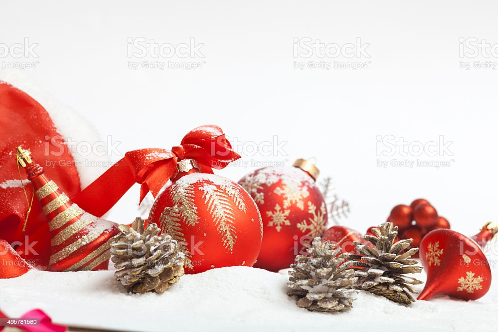 Christmas ball with red bow stock photo