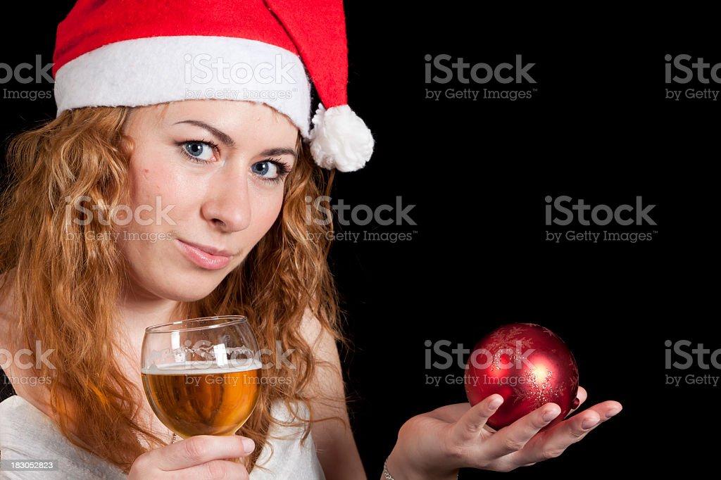 Christmas: Balls and Santa Hat stock photo