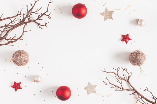 Christmas Balls Beige And Red Decorations Flat Lay Top View Stock Photo - Download Image Now ...