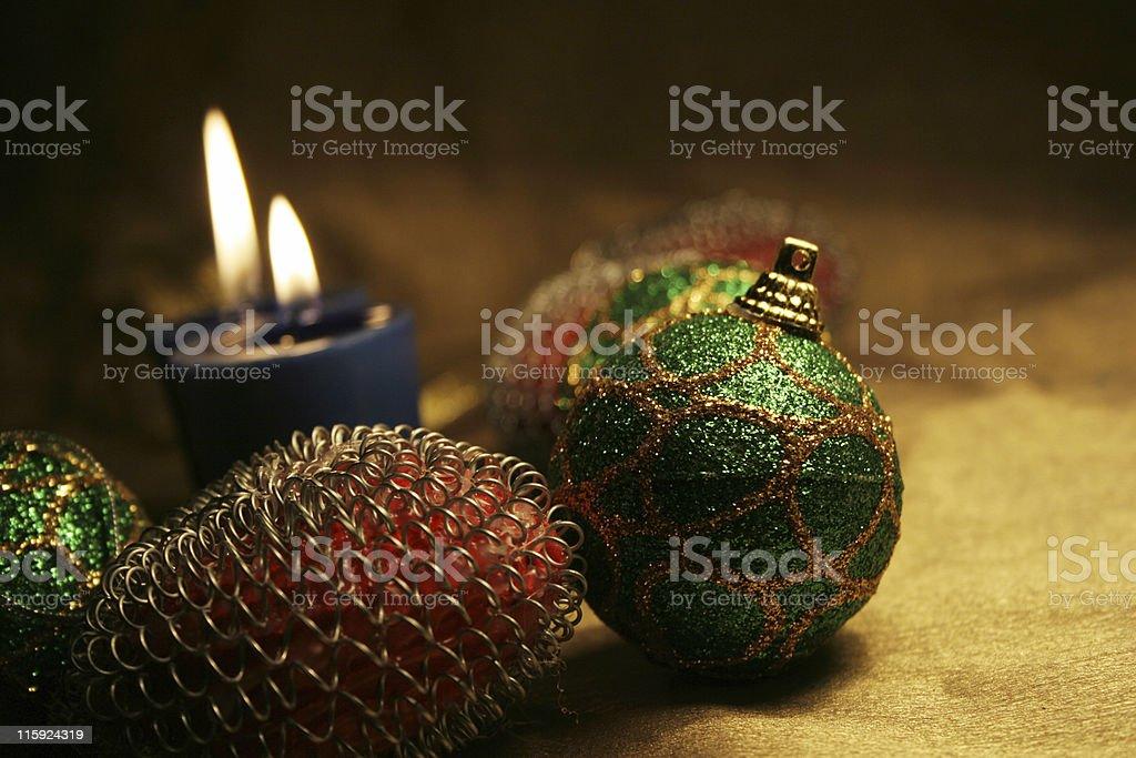 Christmas balls & candles royalty-free stock photo