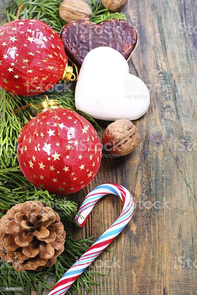 Christmas balls, cookies and nuts. royalty-free stock photo