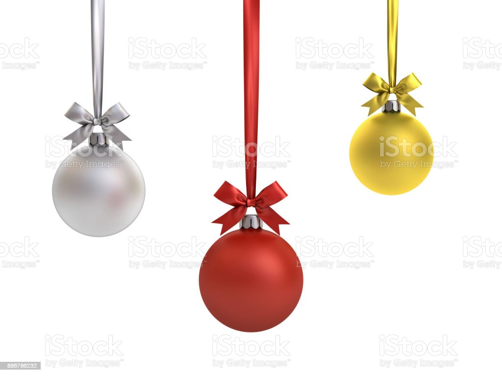 Christmas balls hanging with ribbon and bow isolated on white background for christmas decoration stock photo