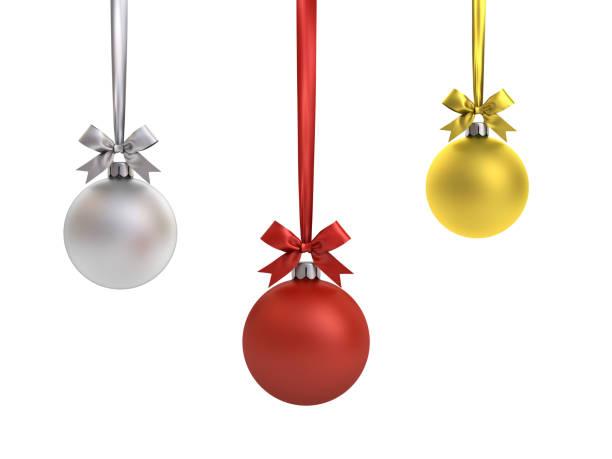 christmas balls hanging with ribbon and bow isolated on white background for christmas decoration - bombka zdjęcia i obrazy z banku zdjęć