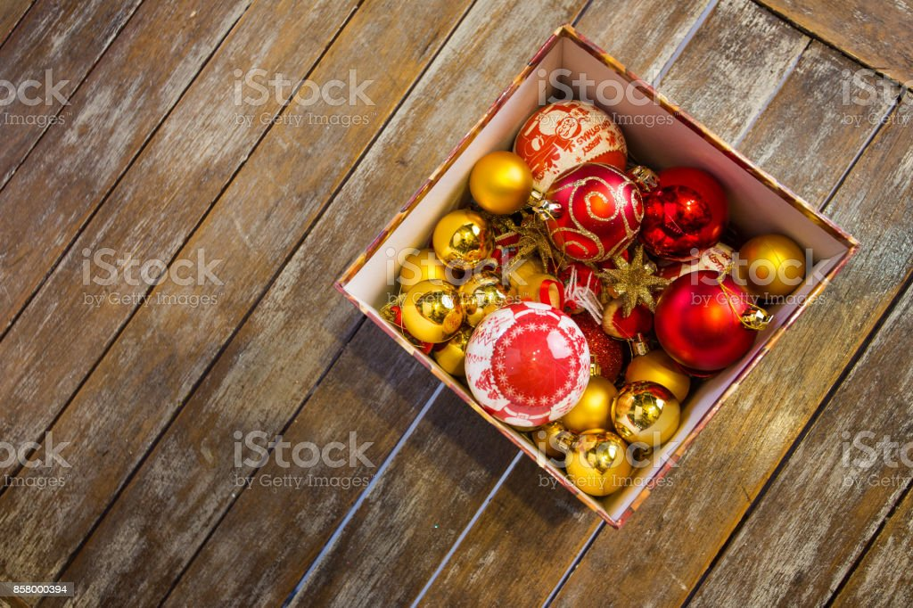 Christmas balls in a box ready to be hanged. stock photo