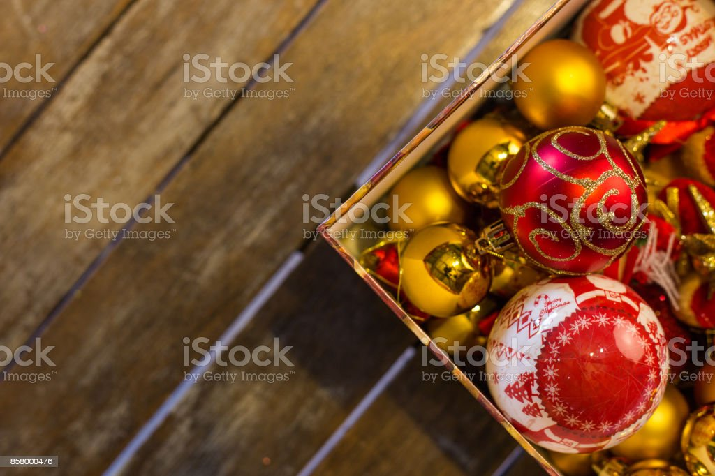 Christmas balls in a box ready to be hanged stock photo