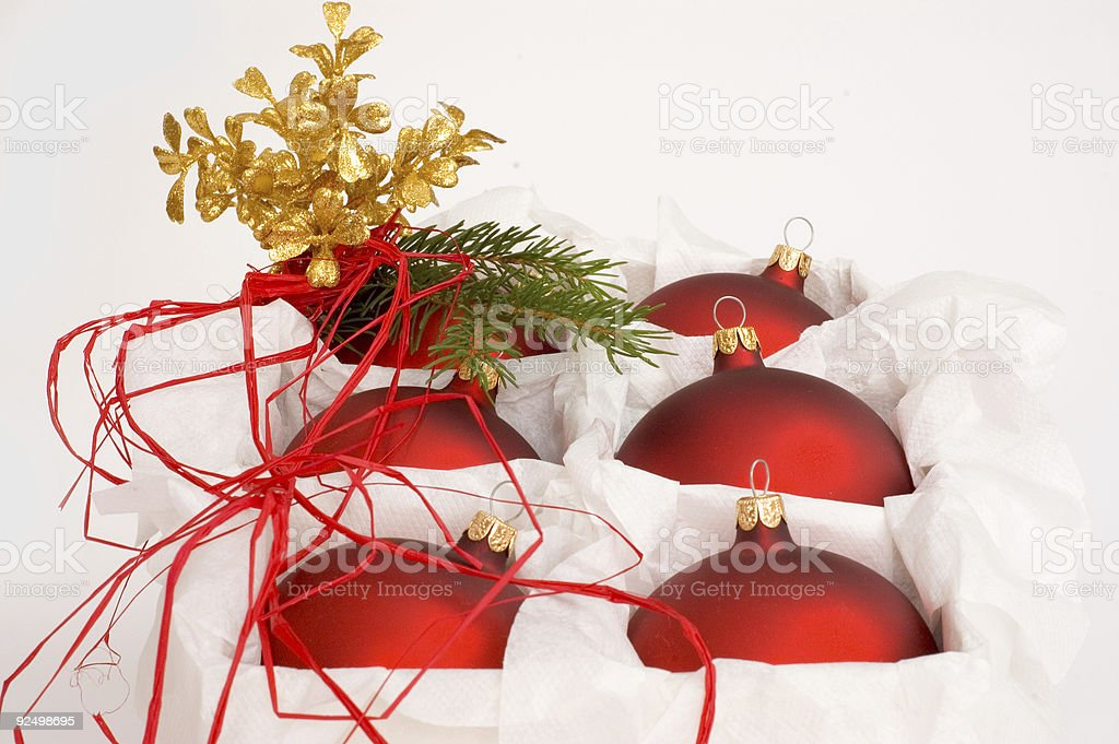 Christmas balls in the box royalty-free stock photo