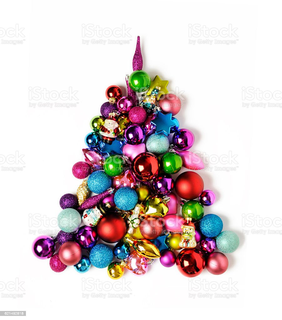 Christmas balls like a tree with white background Lizenzfreies stock-foto
