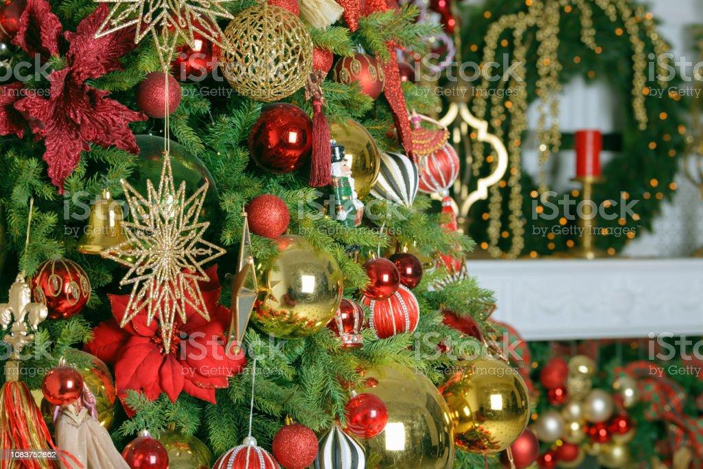 Christmas balls on fir tree. New Year holidays and Christmastime...