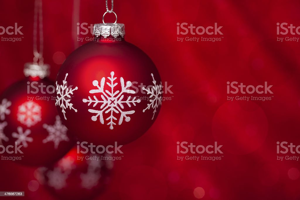 Christmas balls on red royalty-free stock photo