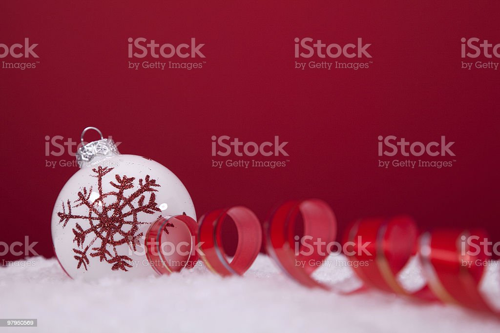 Christmas balls over a red background royalty-free stock photo