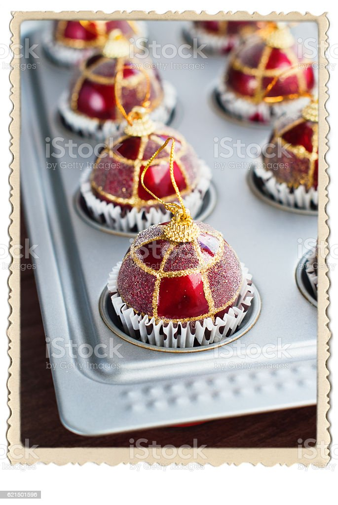 Christmas Balls Toy Baking Sheet Preparation Lizenzfreies stock-foto