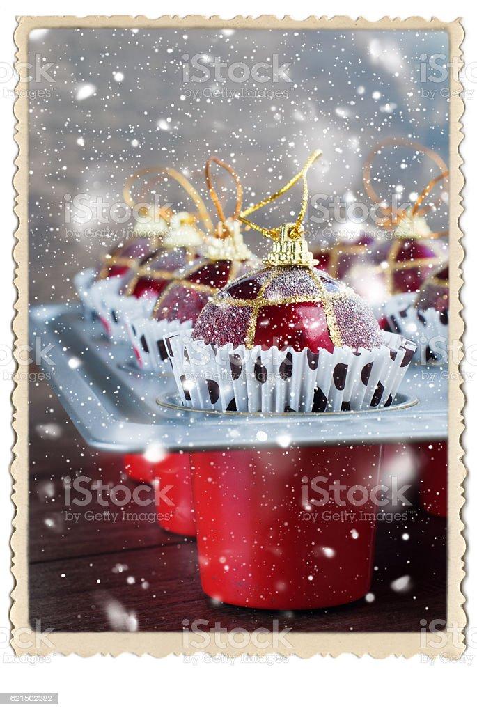 Christmas Balls Toy Baking Sheet Preparation foto stock royalty-free