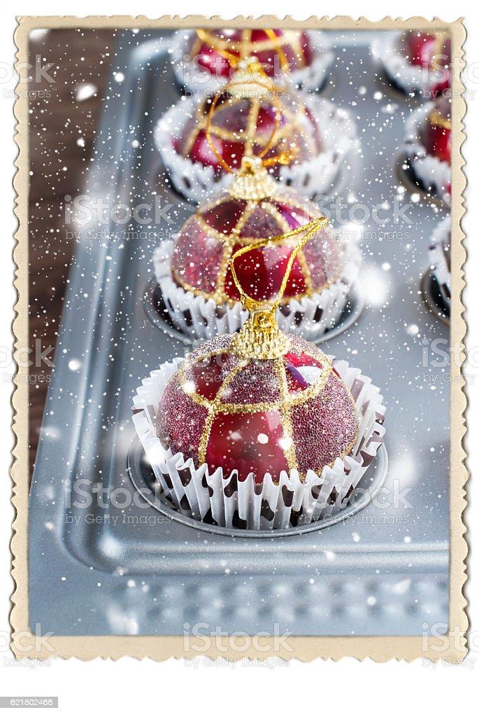 Christmas Balls Toy Baking Sheet Preparation Lizenzfreies stock-foto