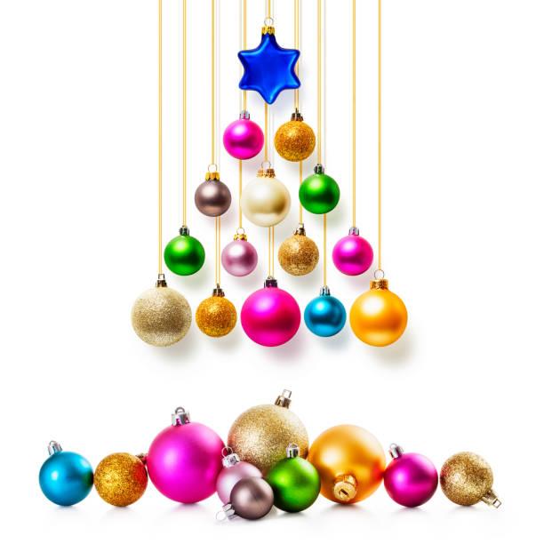 weihnachtsbaum-kugeln set - foto collage geschenk stock-fotos und bilder