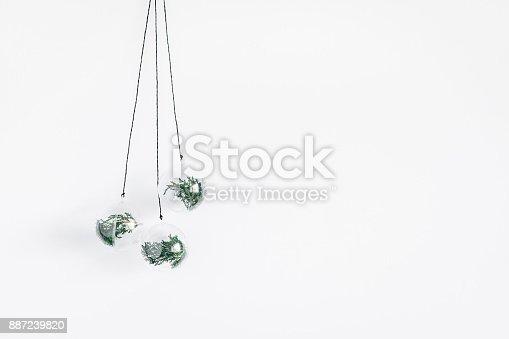 1064023690 istock photo Christmas balls, winter plants. Flat lay, top view 887239820