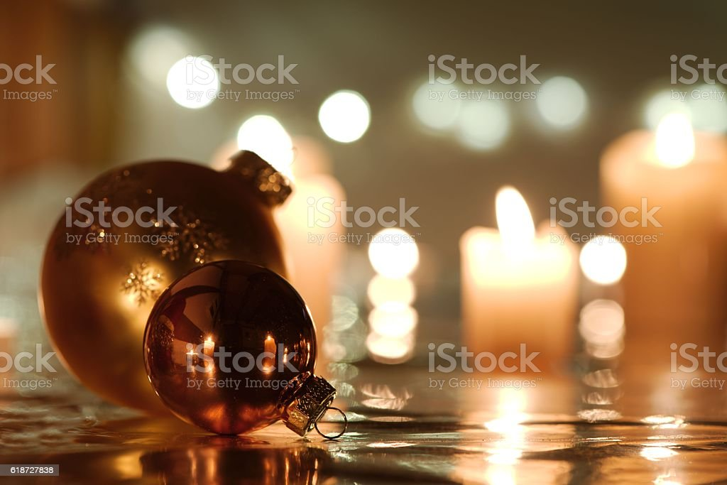 Christmas balls with candles stock photo