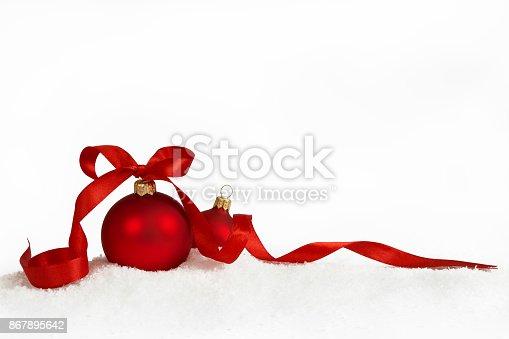 istock christmas balls with ribbon 867895642