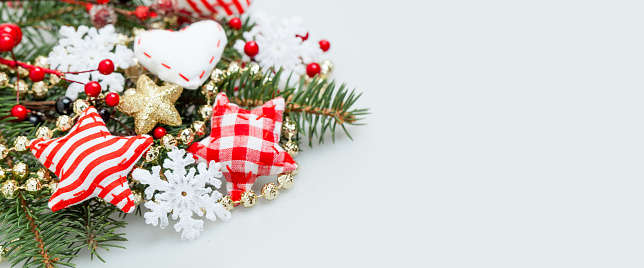 Christmas Banner Background With White Snowflake Xmas Tree