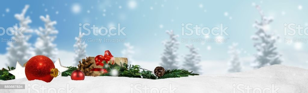 Christmas banner panorama background stock photo