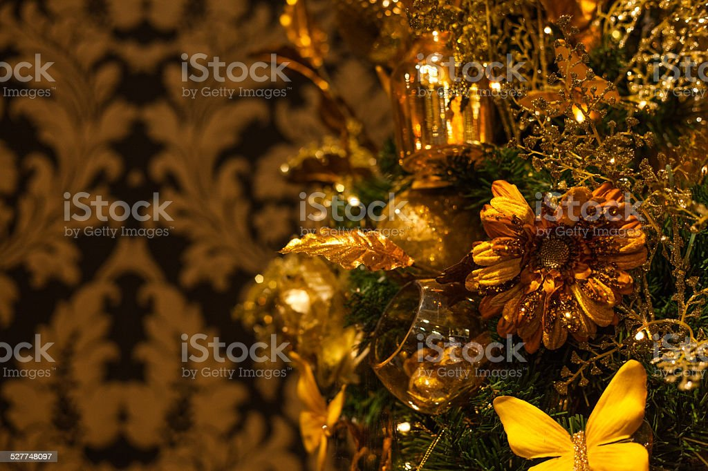 christmas barok yellow (kerst gold style) stock photo