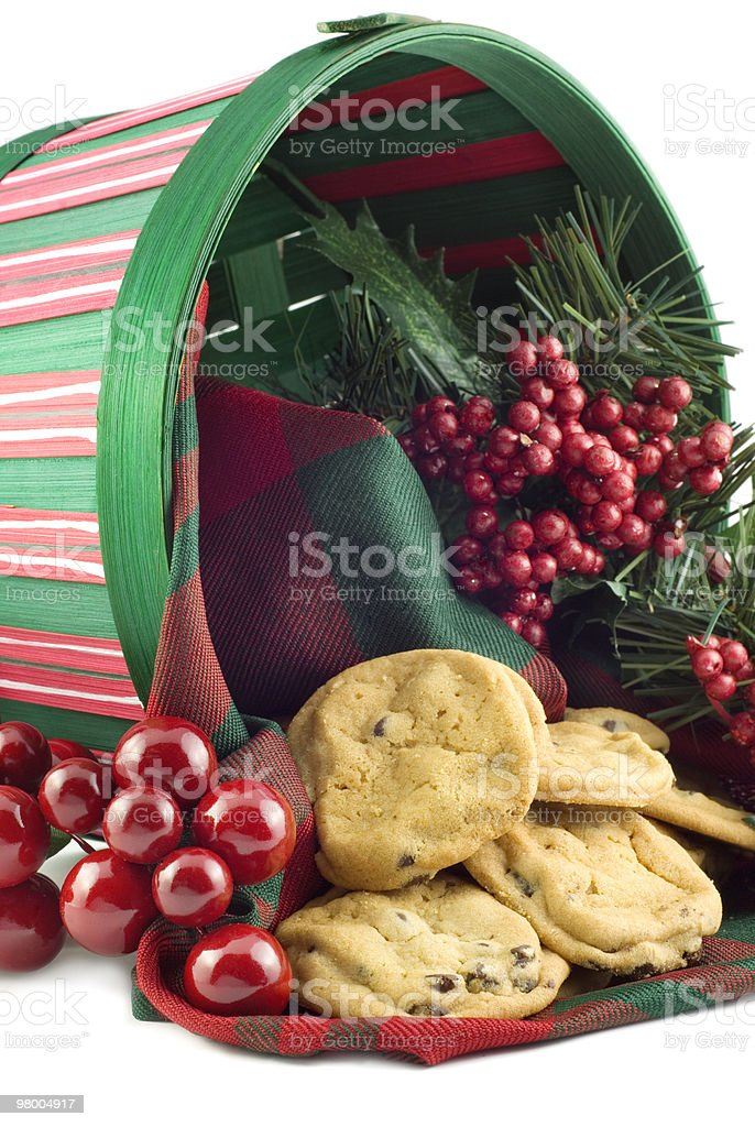 Christmas Basket with Cookies royalty-free stock photo