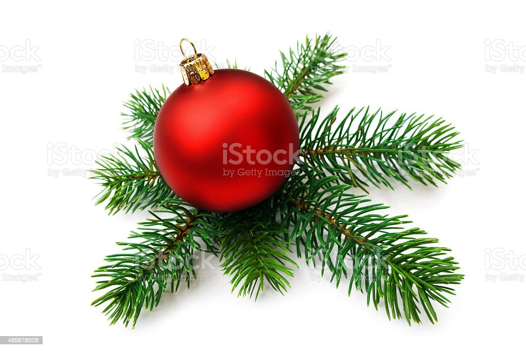 Christmas bauble and pine branches, isolated stock photo