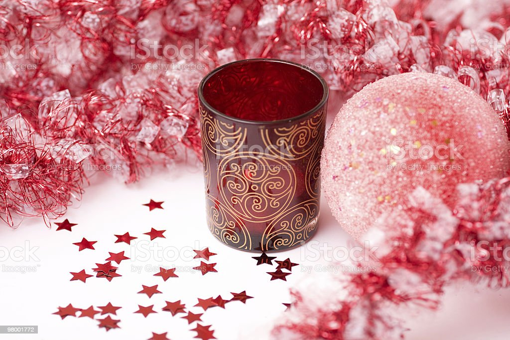 Christmas  bauble, candle, decorations on a white backdrop. royalty-free stock photo