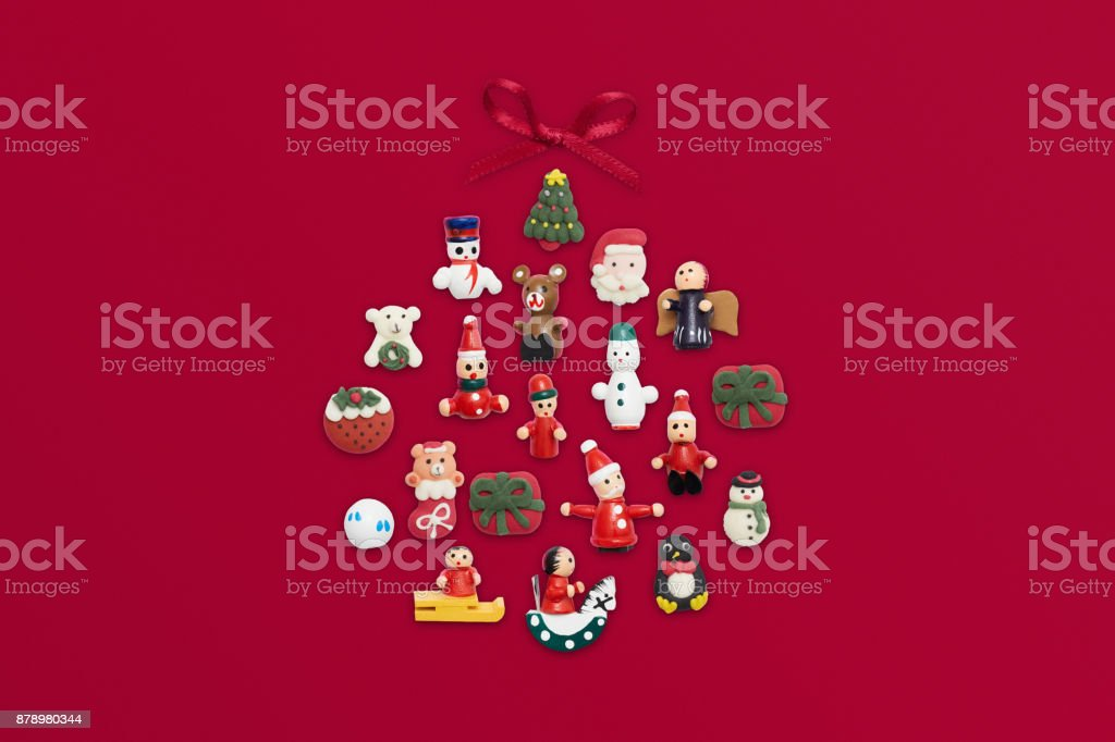 Christmas bauble flat lay on red background stock photo
