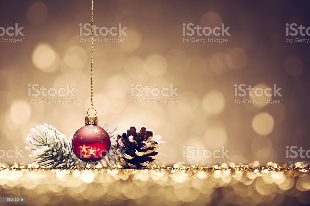 Christmas Bauble surgelés SUCCURSALE décoration or brillant Bokeh hiver - Photo