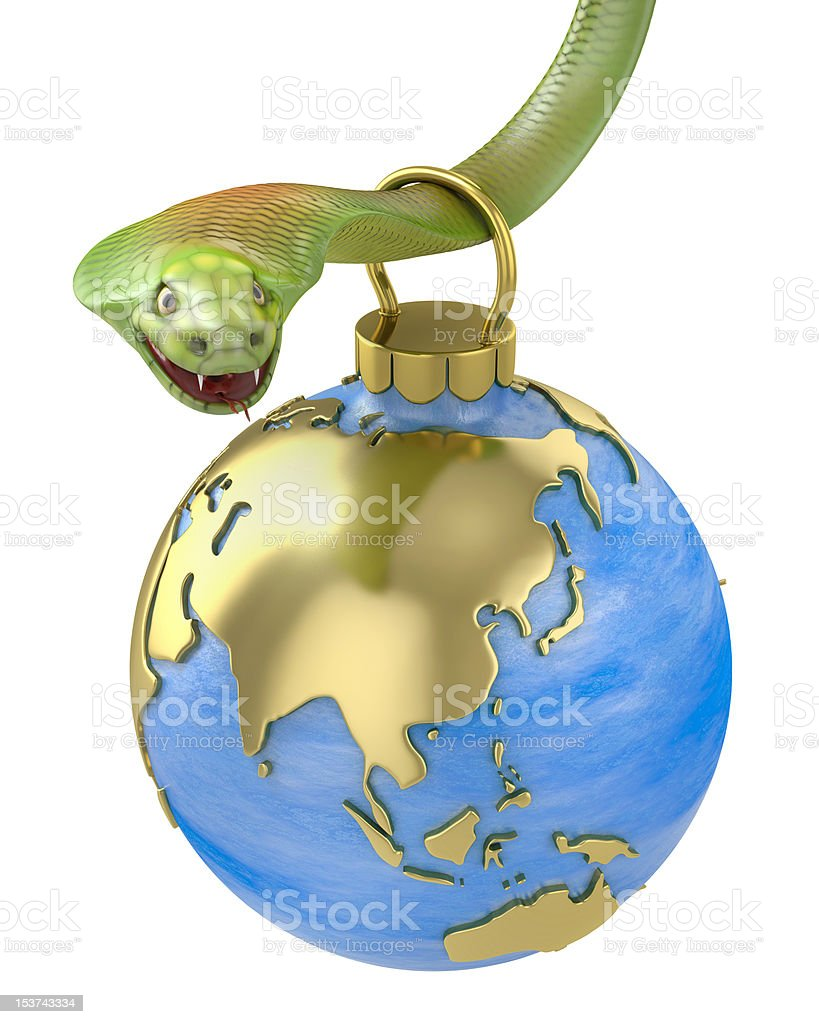 Christmas bauble hanging on cobra, Asia part royalty-free stock photo